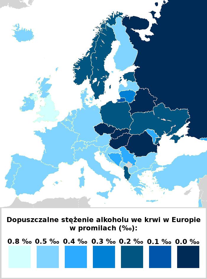 czy jazda poalkoholu ma sens - tabela pokazujące dopuszczalne stężenie alkoholu wróżnych krajach Europy