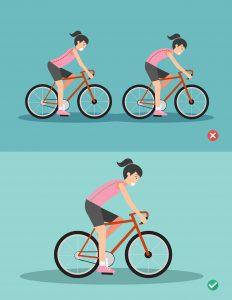 Kontuzje rowerzystów - grafika przedstawiająca prawidłową inieprawidłową pozycję narowerze