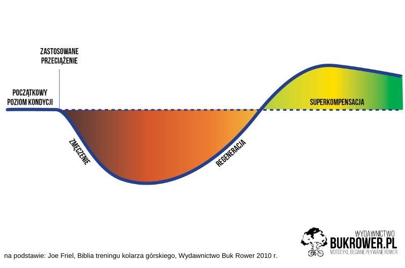 wykres przedstawiający zasadę kompensacji, czyli budowania kondycji wtreningu kolarza górskiego